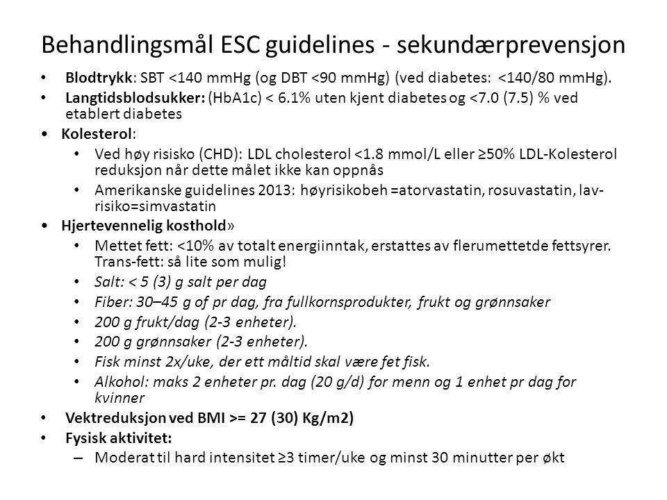 Behandlingsmål ESC guidelines - sekundærprevensjon Blodtrykk: SBT <140 mmHg (og DBT <90 mmHg) (ved diabetes: <140/80 mmHg). Langtidsblodsukker: (HbA1c