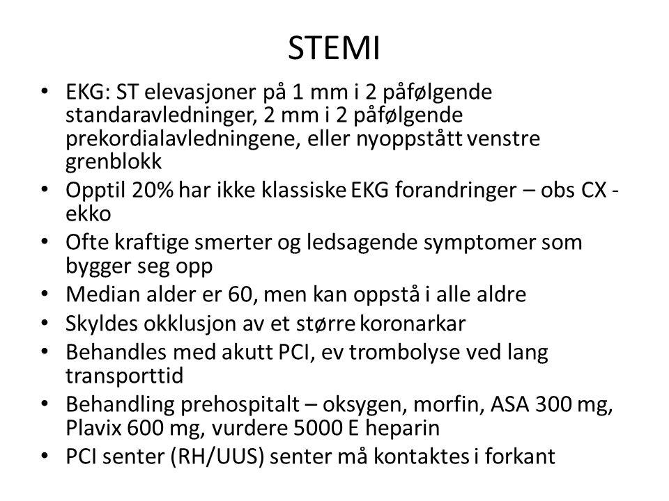 STEMI EKG: ST elevasjoner på 1 mm i 2 påfølgende standaravledninger, 2 mm i 2 påfølgende prekordialavledningene, eller nyoppstått venstre grenblokk Opptil 20% har ikke klassiske EKG forandringer – obs CX - ekko Ofte kraftige smerter og ledsagende symptomer som bygger seg opp Median alder er 60, men kan oppstå i alle aldre Skyldes okklusjon av et større koronarkar Behandles med akutt PCI, ev trombolyse ved lang transporttid Behandling prehospitalt – oksygen, morfin, ASA 300 mg, Plavix 600 mg, vurdere 5000 E heparin PCI senter (RH/UUS) senter må kontaktes i forkant