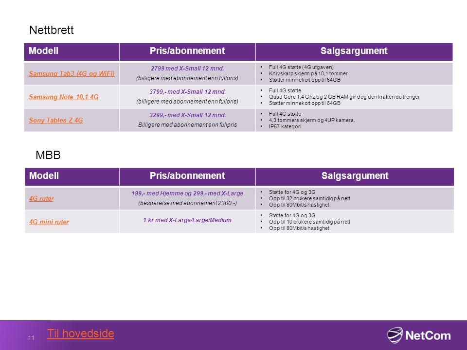 ModellPris/abonnementSalgsargument Samsung Tab3 (4G og WiFi) 2799 med X-Small 12 mnd.