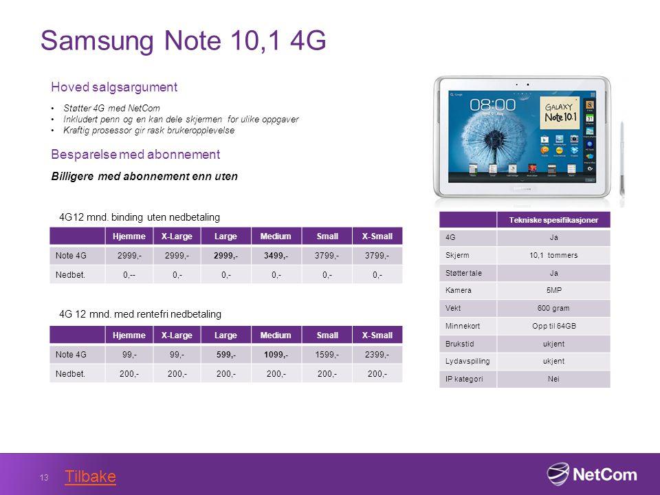 Samsung Note 10,1 4G 13 Tekniske spesifikasjoner 4GJa Skjerm10,1 tommers Støtter taleJa Kamera5MP Vekt600 gram MinnekortOpp til 64GB Brukstidukjent Lydavspillingukjent IP kategoriNei Hoved salgsargument Støtter 4G med NetCom Inkludert penn og en kan dele skjermen for ulike oppgaver Kraftig prosessor gir rask brukeropplevelse Besparelse med abonnement Billigere med abonnement enn uten HjemmeX-LargeLargeMediumSmallX-Small Note 4G2999,- 3499,-3799,- Nedbet.0,--0,- 4G12 mnd.