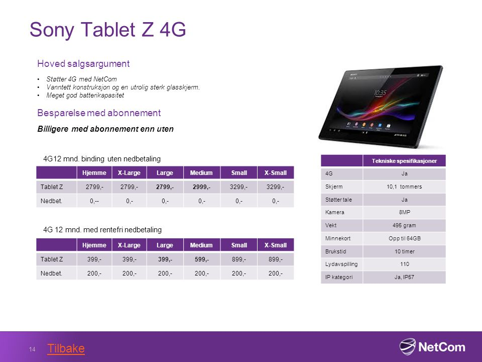Sony Tablet Z 4G 14 Tekniske spesifikasjoner 4GJa Skjerm10,1 tommers Støtter taleJa Kamera8MP Vekt495 gram MinnekortOpp til 64GB Brukstid10 timer Lydavspilling110 IP kategoriJa, IP57 Hoved salgsargument Støtter 4G med NetCom Vanntett konstruksjon og en utrolig sterk glasskjerm.