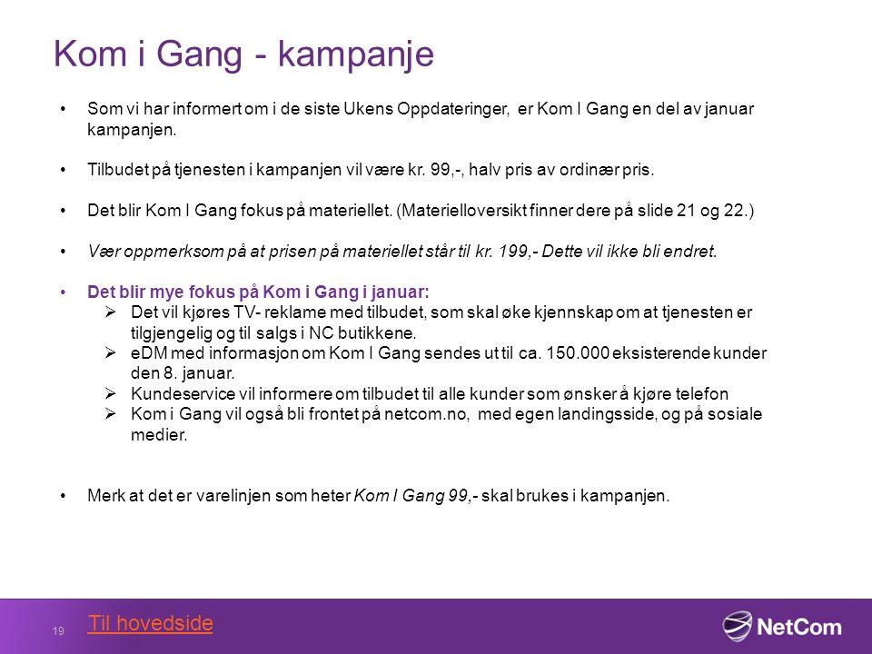 Kom i Gang - kampanje 19 Til hovedside Som vi har informert om i de siste Ukens Oppdateringer, er Kom I Gang en del av januar kampanjen.