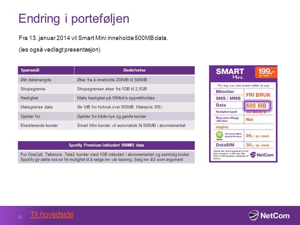 Endring i porteføljen Fra 13. januar 2014 vil Smart Mini inneholde 500MB data.