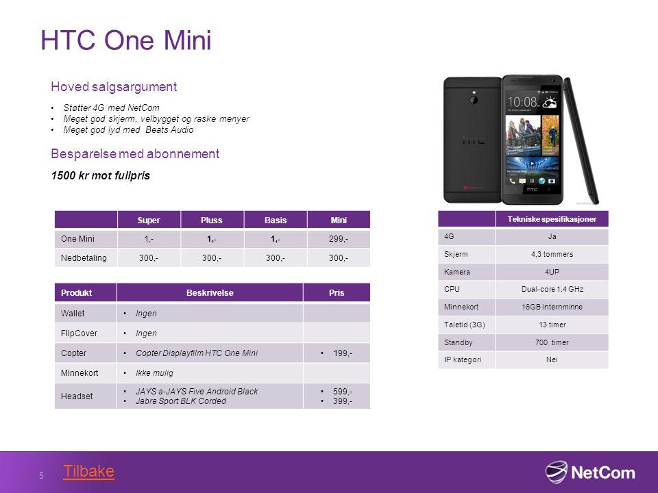 HTC One Mini 5 Tekniske spesifikasjoner 4GJa Skjerm4,3 tommers Kamera4UP CPUDual-core 1.4 GHz Minnekort16GB internminne Taletid (3G)13 timer Standby700 timer IP kategoriNei Hoved salgsargument Støtter 4G med NetCom Meget god skjerm, velbygget og raske menyer Meget god lyd med Beats Audio Besparelse med abonnement 1500 kr mot fullpris SuperPlussBasisMini One Mini1,- 299,- Nedbetaling300,- ProduktBeskrivelsePris WalletIngen FlipCoverIngen CopterCopter Displayfilm HTC One Mini199,- MinnekortIkke mulig Headset JAYS a-JAYS Five Android Black Jabra Sport BLK Corded 599,- 399,- Tilbake