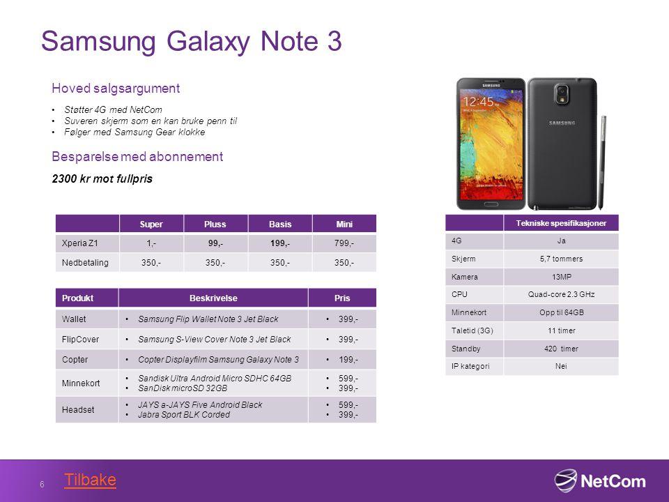 Samsung Galaxy Note 3 6 Tekniske spesifikasjoner 4GJa Skjerm5,7 tommers Kamera13MP CPUQuad-core 2.3 GHz MinnekortOpp til 64GB Taletid (3G)11 timer Standby420 timer IP kategoriNei Hoved salgsargument Støtter 4G med NetCom Suveren skjerm som en kan bruke penn til Følger med Samsung Gear klokke Besparelse med abonnement 2300 kr mot fullpris SuperPlussBasisMini Xperia Z11,-99,-199,-799,- Nedbetaling350,- ProduktBeskrivelsePris WalletSamsung Flip Wallet Note 3 Jet Black399,- FlipCoverSamsung S-View Cover Note 3 Jet Black399,- CopterCopter Displayfilm Samsung Galaxy Note 3199,- Minnekort Sandisk Ultra Android Micro SDHC 64GB SanDisk microSD 32GB 599,- 399,- Headset JAYS a-JAYS Five Android Black Jabra Sport BLK Corded 599,- 399,- Tilbake