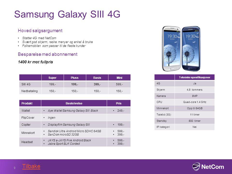 Samsung Galaxy SIII 4G 9 Tekniske spesifikasjoner 4GJa Skjerm4,8 tommers Kamera8MP CPUQuad-core 1.4 GHz MinnekortOpp til 64GB Taletid (3G)11 timer Standby800 timer IP kategoriNei Hoved salgsargument Støtter 4G med NetCom Svært god skjerm, raske menyer og enkel å bruke Folkemobilen som passer til de fleste kunder Besparelse med abonnement 1400 kr mot fullpris SuperPlussBasisMini SIII 4G199,- 399,-599,- Nedbetaling150,- ProduktBeskrivelsePris WalletAye Wallet Samsung Galaxy SIII Black249,- FlipCoverIngen CopterDisplayfilm Samsung Galaxy SIII199,- Minnekort Sandisk Ultra Android Micro SDHC 64GB SanDisk microSD 32GB 599,- 399,- Headset JAYS a-JAYS Five Android Black Jabra Sport BLK Corded 599,- 399,- Tilbake