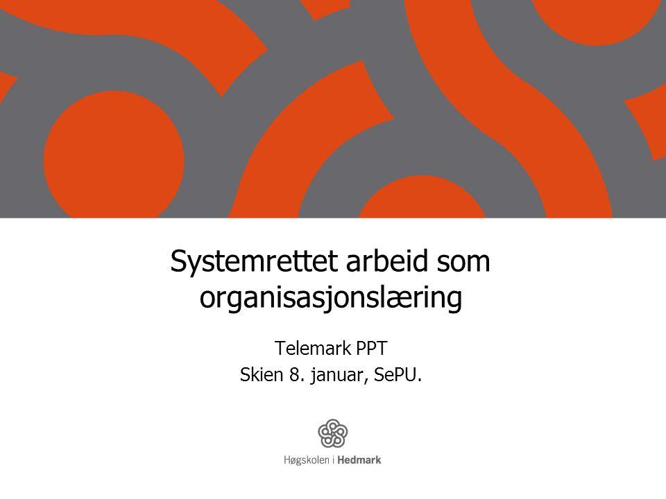 Systemrettet arbeid som organisasjonslæring Telemark PPT Skien 8. januar, SePU.