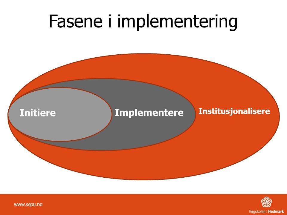Initiere Implementere Institusjonalisere Fasene i implementering www.sepu.no