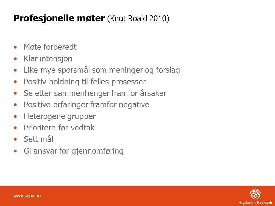 Profesjonelle møter (Knut Roald 2010) Møte forberedt Klar intensjon Like mye spørsmål som meninger og forslag Positiv holdning til felles prosesser Se