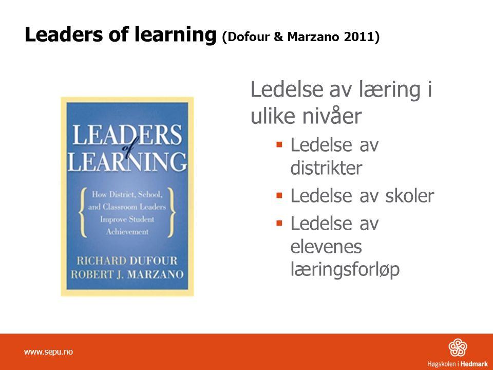 Leaders of learning (Dofour & Marzano 2011) Ledelse av læring i ulike nivåer  Ledelse av distrikter  Ledelse av skoler  Ledelse av elevenes lærings