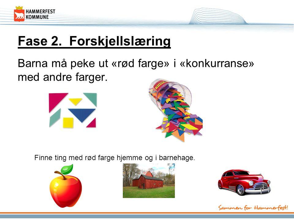 Fase 2. Forskjellslæring Barna må peke ut «rød farge» i «konkurranse» med andre farger. Finne ting med rød farge hjemme og i barnehage.