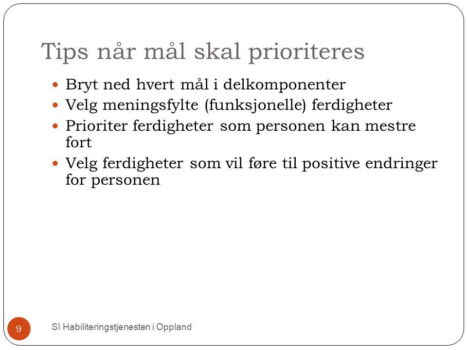 Tips når mål skal prioriteres SI Habiliteringstjenesten i Oppland 9 Bryt ned hvert mål i delkomponenter Velg meningsfylte (funksjonelle) ferdigheter P