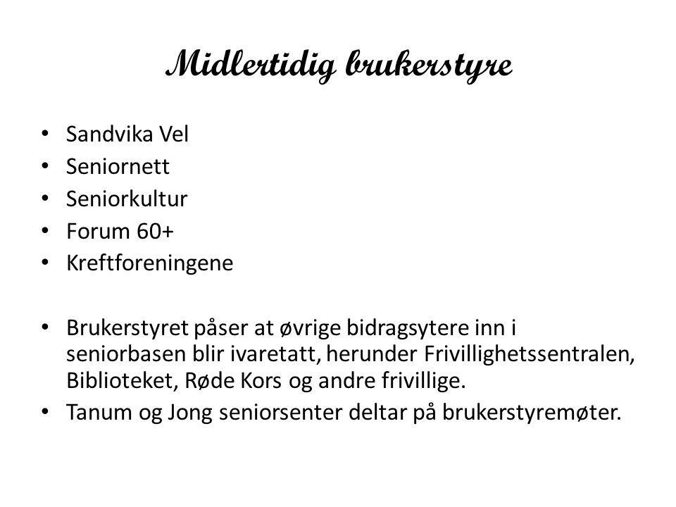 Midlertidig brukerstyre Sandvika Vel Seniornett Seniorkultur Forum 60+ Kreftforeningene Brukerstyret påser at øvrige bidragsytere inn i seniorbasen blir ivaretatt, herunder Frivillighetssentralen, Biblioteket, Røde Kors og andre frivillige.