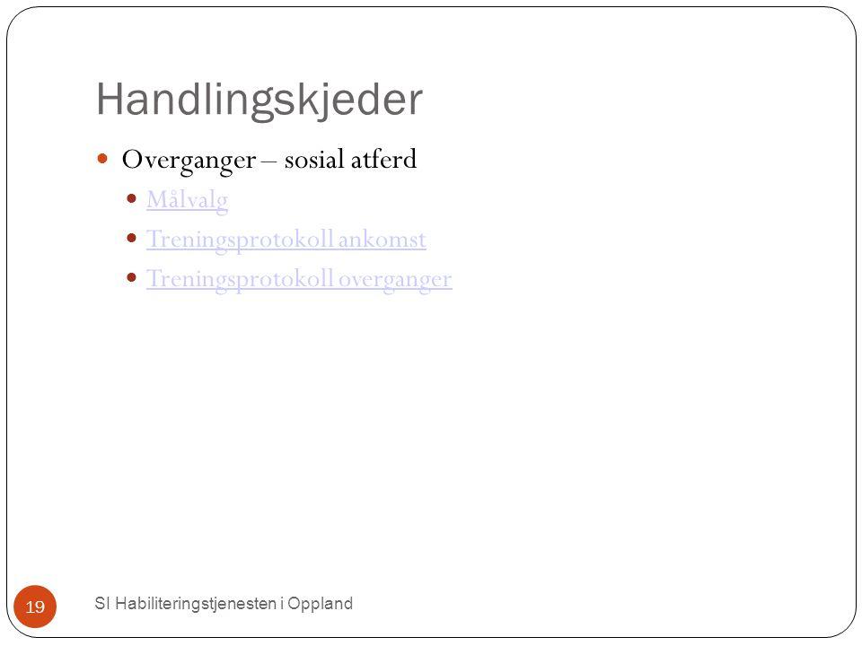 Handlingskjeder SI Habiliteringstjenesten i Oppland 19 Overganger – sosial atferd Målvalg Treningsprotokoll ankomst Treningsprotokoll overganger