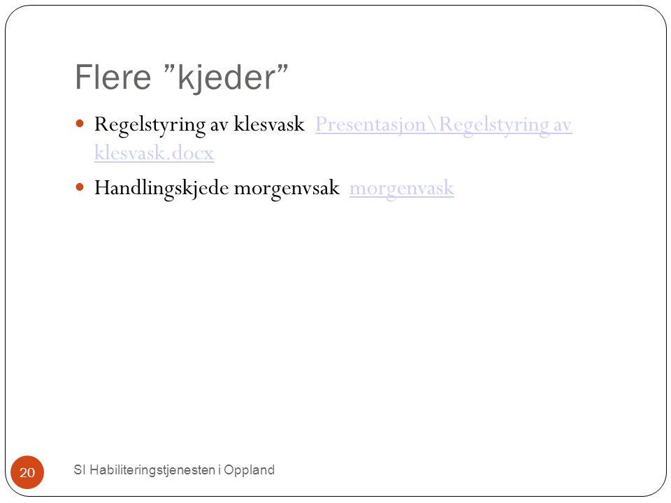 """Flere """"kjeder"""" SI Habiliteringstjenesten i Oppland 20 Regelstyring av klesvask Presentasjon\Regelstyring av klesvask.docxPresentasjon\Regelstyring av"""