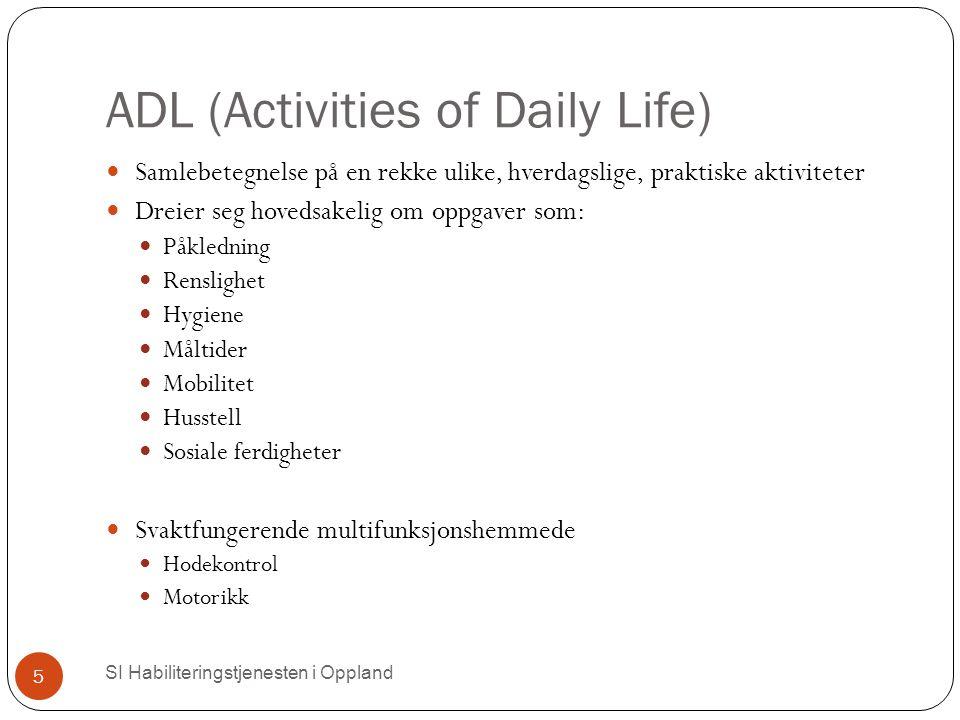 ADL (Activities of Daily Life)  SI Habiliteringstjenesten i Oppland 5 Samlebetegnelse på en rekke ulike, hverdagslige, praktiske aktiviteter Dreier s