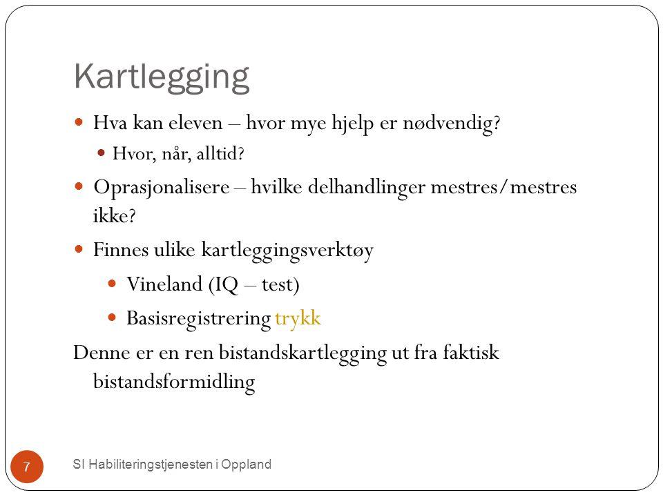 Kartlegging SI Habiliteringstjenesten i Oppland 7 Hva kan eleven – hvor mye hjelp er nødvendig.
