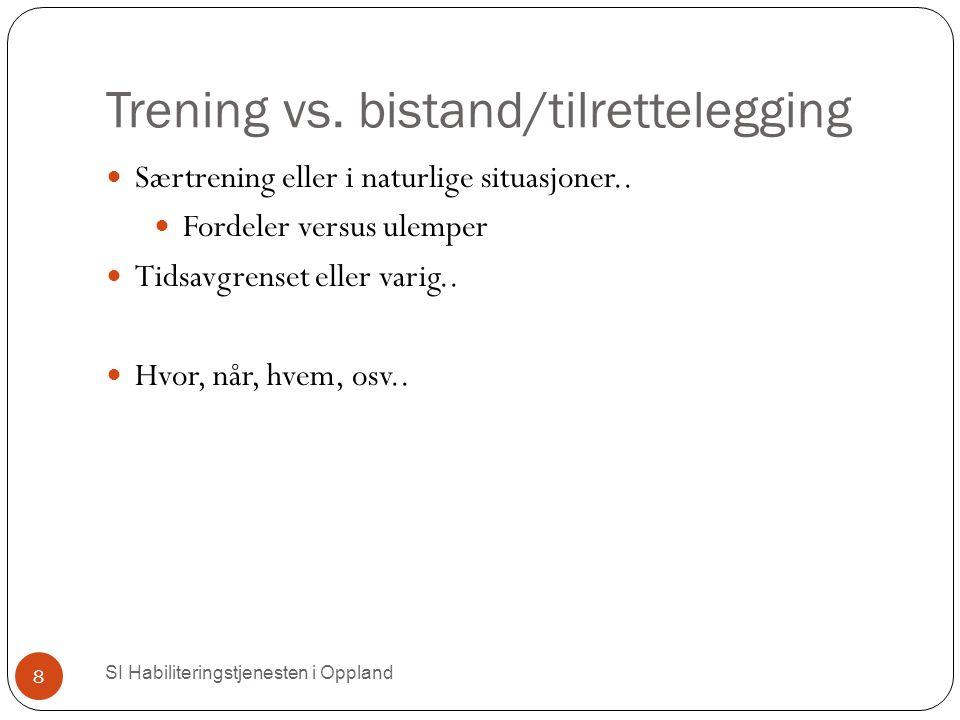 Trening vs. bistand/tilrettelegging SI Habiliteringstjenesten i Oppland 8 Særtrening eller i naturlige situasjoner.. Fordeler versus ulemper Tidsavgre