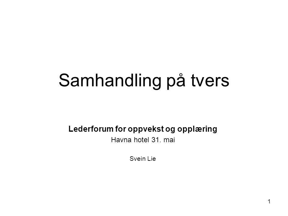 Samhandling på tvers Lederforum for oppvekst og opplæring Havna hotel 31. mai Svein Lie 1