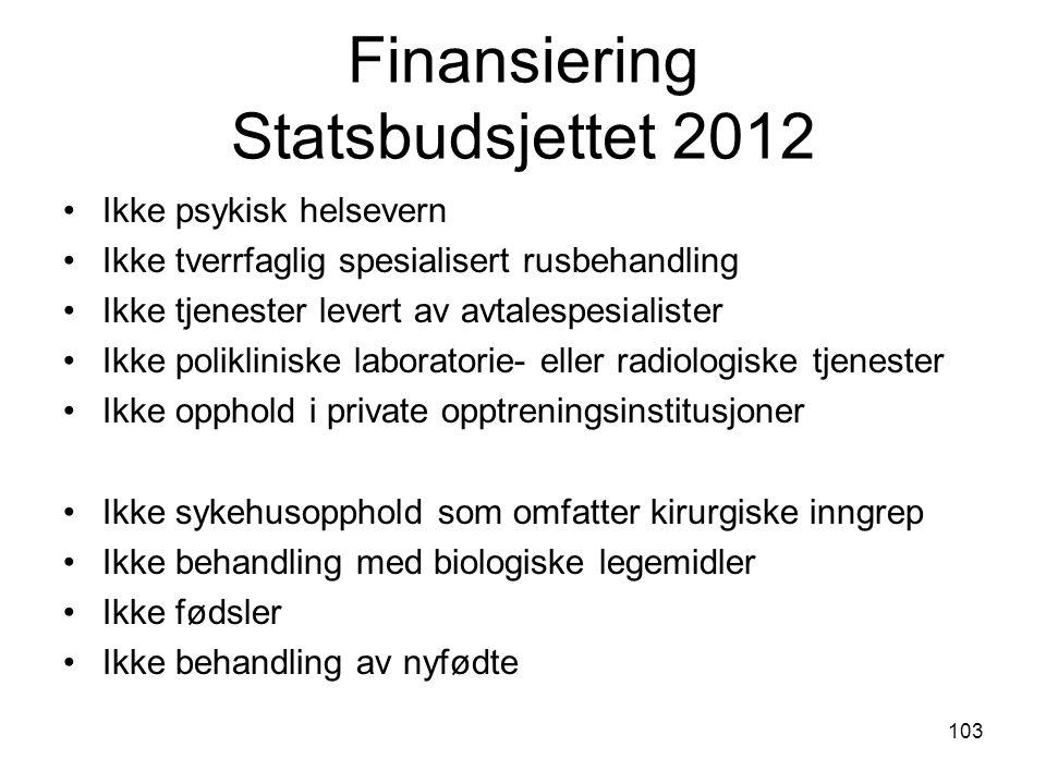 Finansiering Statsbudsjettet 2012 Ikke psykisk helsevern Ikke tverrfaglig spesialisert rusbehandling Ikke tjenester levert av avtalespesialister Ikke