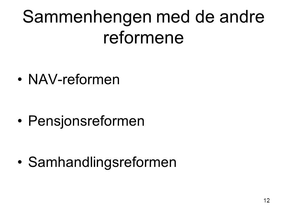 Sammenhengen med de andre reformene NAV-reformen Pensjonsreformen Samhandlingsreformen 12