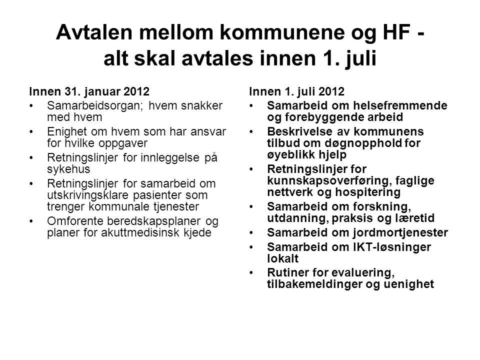 Avtalen mellom kommunene og HF - alt skal avtales innen 1. juli Innen 31. januar 2012 Samarbeidsorgan; hvem snakker med hvem Enighet om hvem som har a