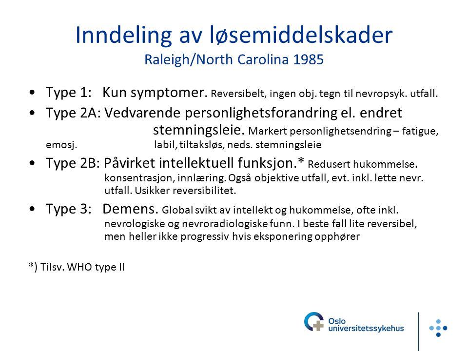Inndeling av løsemiddelskader Raleigh/North Carolina 1985 Type 1: Kun symptomer. Reversibelt, ingen obj. tegn til nevropsyk. utfall. Type 2A: Vedvaren