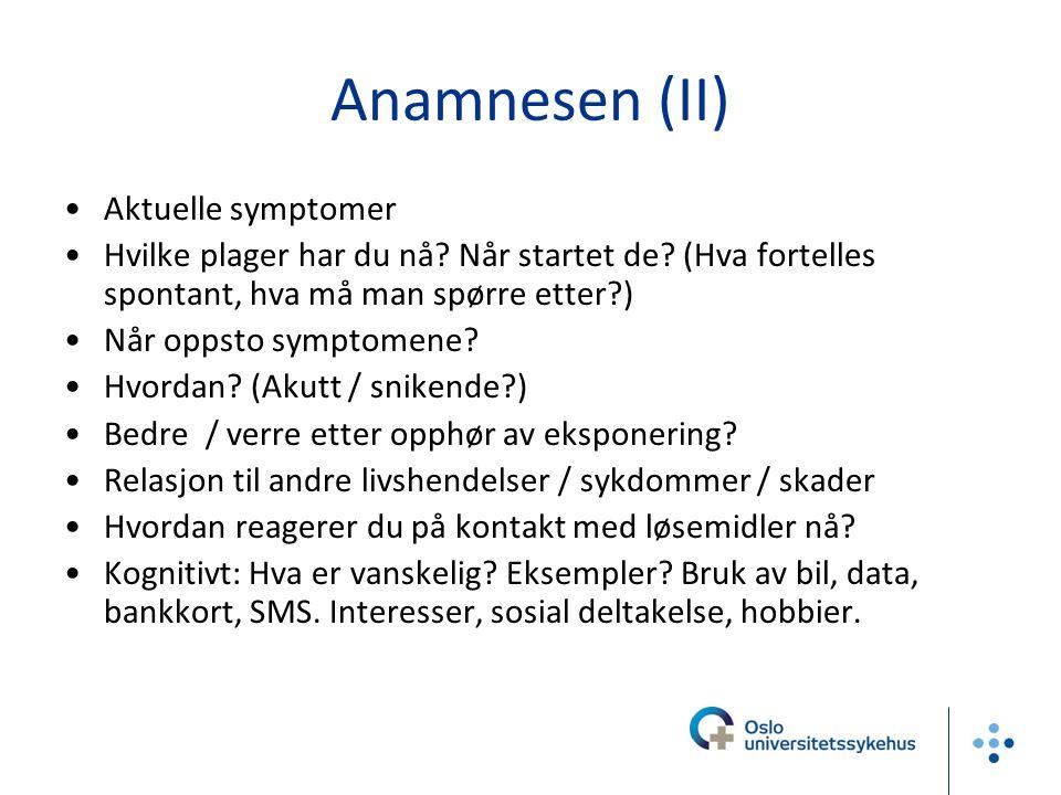Anamnesen (II) Aktuelle symptomer Hvilke plager har du nå? Når startet de? (Hva fortelles spontant, hva må man spørre etter?) Når oppsto symptomene? H