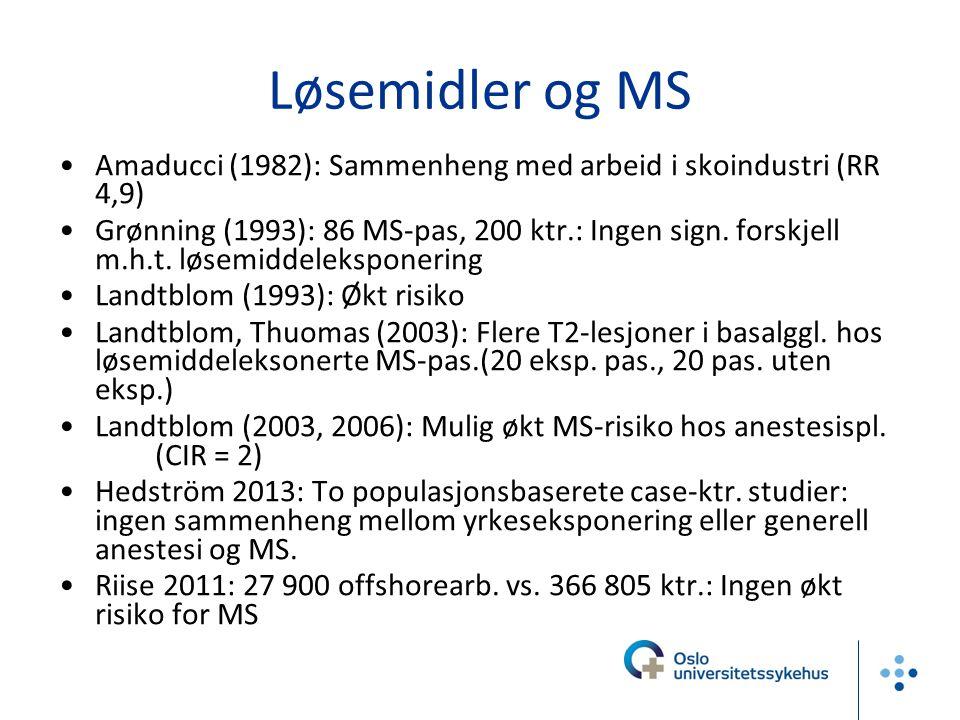 Løsemidler og MS Amaducci (1982): Sammenheng med arbeid i skoindustri (RR 4,9) Grønning (1993): 86 MS-pas, 200 ktr.: Ingen sign. forskjell m.h.t. løse