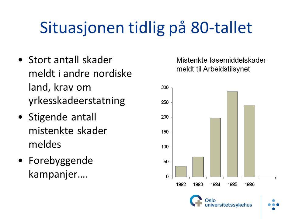 Situasjonen tidlig på 80-tallet Stort antall skader meldt i andre nordiske land, krav om yrkesskadeerstatning Stigende antall mistenkte skader meldes