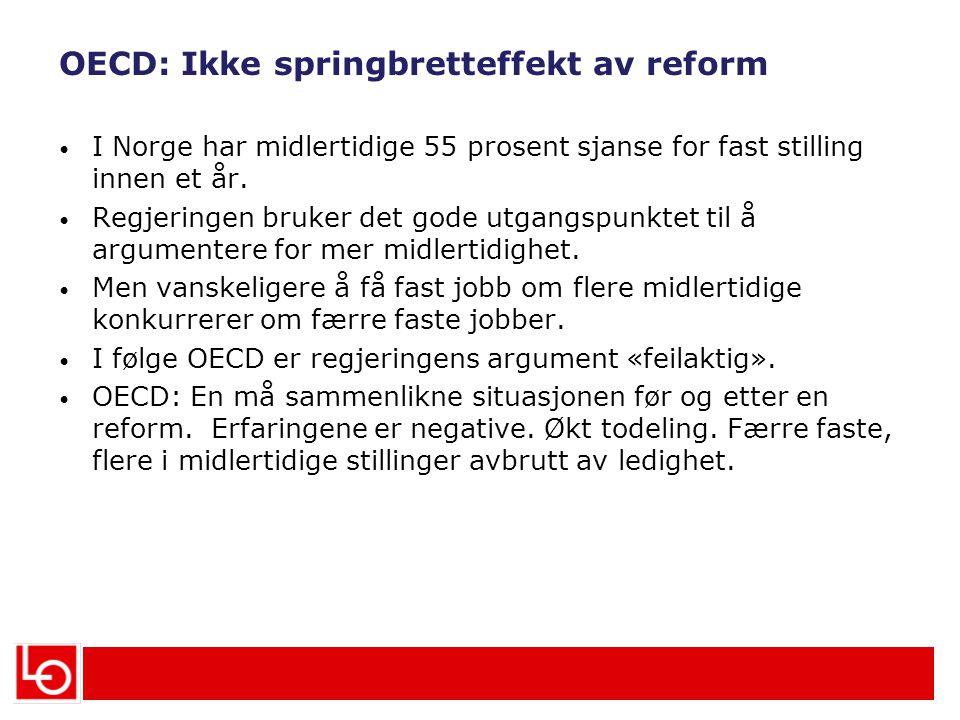 OECD: Ikke springbretteffekt av reform I Norge har midlertidige 55 prosent sjanse for fast stilling innen et år.