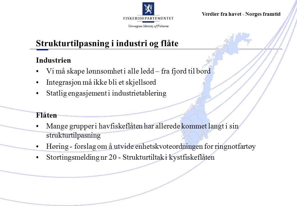 Norwegian Ministry of Fisheries Verdier fra havet - Norges framtid Industrien Vi må skape lønnsomhet i alle ledd – fra fjord til bord Integrasjon må ikke bli et skjellsord Statlig engasjement i industrietablering Flåten Mange grupper i havfiskeflåten har allerede kommet langt i sin strukturtilpasning Høring - forslag om å utvide enhetskvoteordningen for ringnotfartøy Stortingsmelding nr 20 - Strukturtiltak i kystfiskeflåten Strukturtilpasning i industri og flåte