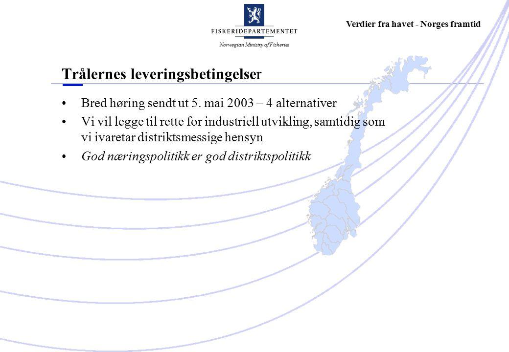 Norwegian Ministry of Fisheries Verdier fra havet - Norges framtid Trålernes leveringsbetingelser Bred høring sendt ut 5.