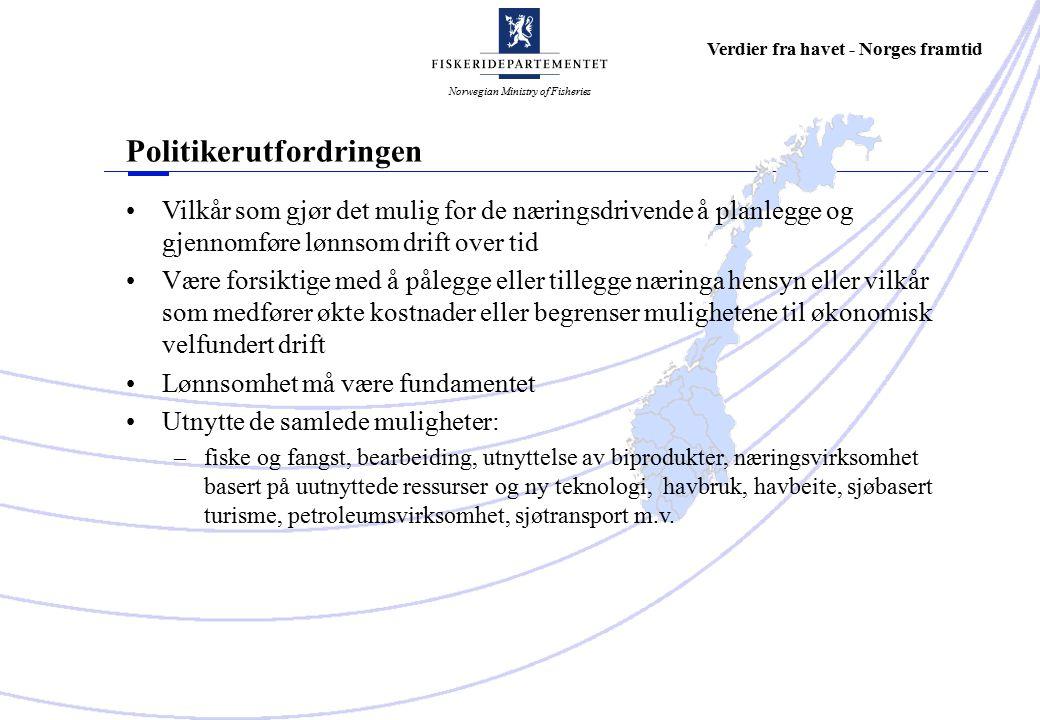 Norwegian Ministry of Fisheries Verdier fra havet - Norges framtid Vilkår som gjør det mulig for de næringsdrivende å planlegge og gjennomføre lønnsom drift over tid Være forsiktige med å pålegge eller tillegge næringa hensyn eller vilkår som medfører økte kostnader eller begrenser mulighetene til økonomisk velfundert drift Lønnsomhet må være fundamentet Utnytte de samlede muligheter: – fiske og fangst, bearbeiding, utnyttelse av biprodukter, næringsvirksomhet basert på uutnyttede ressurser og ny teknologi, havbruk, havbeite, sjøbasert turisme, petroleumsvirksomhet, sjøtransport m.v.