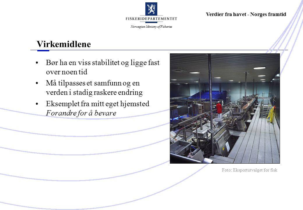 Norwegian Ministry of Fisheries Verdier fra havet - Norges framtid Virkemidlene Bør ha en viss stabilitet og ligge fast over noen tid Må tilpasses et samfunn og en verden i stadig raskere endring Eksemplet fra mitt eget hjemsted Forandre for å bevare Foto: Eksportutvalget for fisk