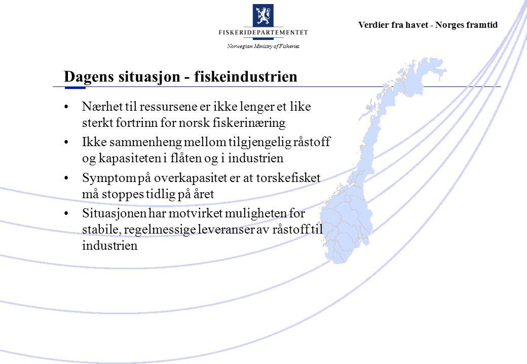 Norwegian Ministry of Fisheries Verdier fra havet - Norges framtid Dagens situasjon - fiskeindustrien Nærhet til ressursene er ikke lenger et like sterkt fortrinn for norsk fiskerinæring Ikke sammenheng mellom tilgjengelig råstoff og kapasiteten i flåten og i industrien Symptom på overkapasitet er at torskefisket må stoppes tidlig på året Situasjonen har motvirket muligheten for stabile, regelmessige leveranser av råstoff til industrien