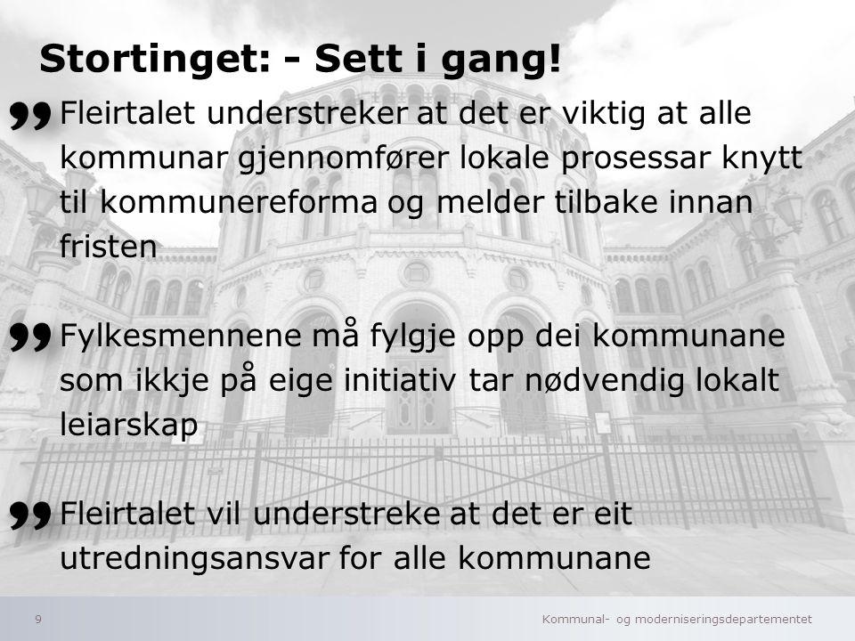 Kommunal- og moderniseringsdepartementet Norsk mal: Tekst uten kulepunkter 10