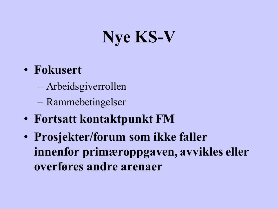 Nye KS-V Fokusert –Arbeidsgiverrollen –Rammebetingelser Fortsatt kontaktpunkt FM Prosjekter/forum som ikke faller innenfor primæroppgaven, avvikles eller overføres andre arenaer