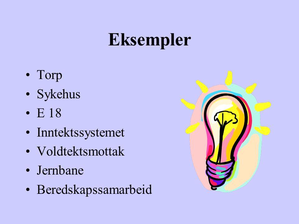 Eksempler Torp Sykehus E 18 Inntektssystemet Voldtektsmottak Jernbane Beredskapssamarbeid