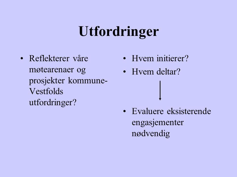 Utfordringer Reflekterer våre møtearenaer og prosjekter kommune- Vestfolds utfordringer.