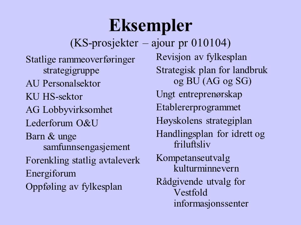 Eksempler (KS-prosjekter – ajour pr 010104) Statlige rammeoverføringer strategigruppe AU Personalsektor KU HS-sektor AG Lobbyvirksomhet Lederforum O&U
