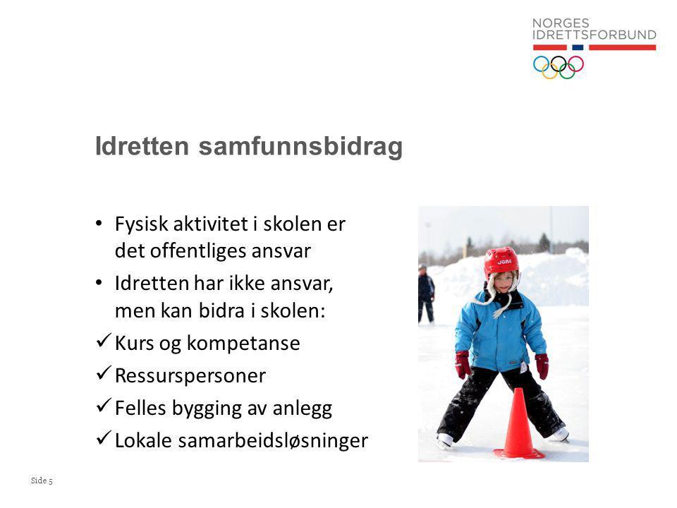 Side 6 Mål: Norsk idrett vil arbeide for å bedre forutsetningene for barns og unges fysiske utvikling og utfoldelse, ved at det innføres én time daglig kroppsøving med kvalifiserte lærere alle barn kan svømme når de er 10 år idrett og skole i fellesskap samarbeider om allsidige aktivitetstilbud 5.3.