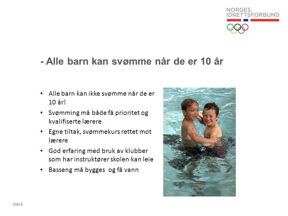 Side 9 Ca 50 % av 10-åringene kan ikke svømme 200 meter Kun 57 % hadde svømmeundervisning gjeldende år (undersøkelse 2003 og 2009) Elever som har foreldre med fremmedkulturell bakgrunn har gjennomgående dårligst svømmeferdigheter Tilgang svømmebassen (med vann) er ikke tilfredsstillende Hvert år går 30.000 barn ut av 4.