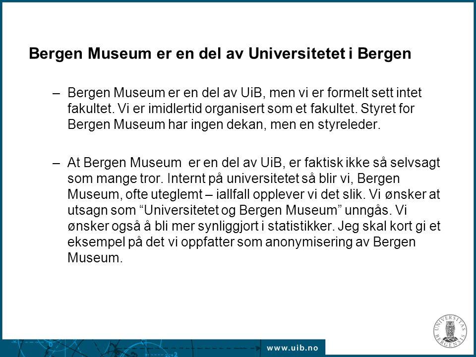 Bergen Museum er en del av Universitetet i Bergen –Bergen Museum er en del av UiB, men vi er formelt sett intet fakultet. Vi er imidlertid organisert
