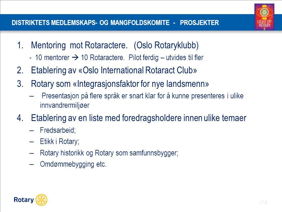 | 10 DISTRIKTETS MEDLEMSKAPS- OG MANGFOLDSKOMITE - PROSJEKTER 1.Mentoring mot Rotaractere. (Oslo Rotaryklubb) - 10 mentorer  10 Rotaractere. Pilot fe