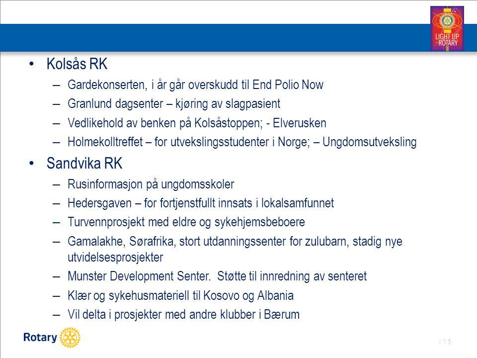 | 15 Kolsås RK – Gardekonserten, i år går overskudd til End Polio Now – Granlund dagsenter – kjøring av slagpasient – Vedlikehold av benken på Kolsåst