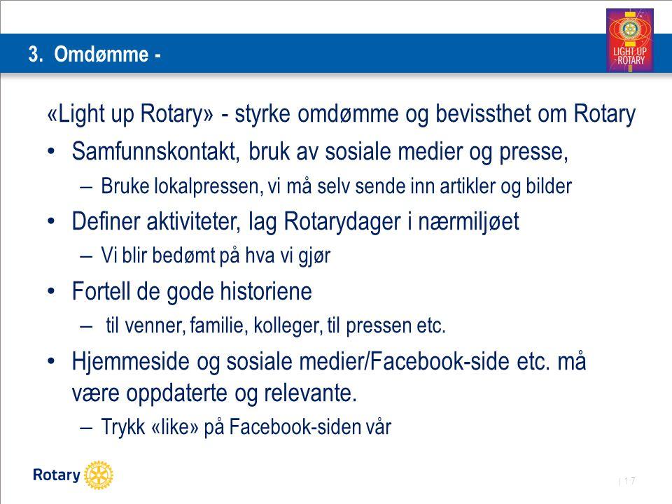 | 17 3. Omdømme - «Light up Rotary» - styrke omdømme og bevissthet om Rotary Samfunnskontakt, bruk av sosiale medier og presse, – Bruke lokalpressen,