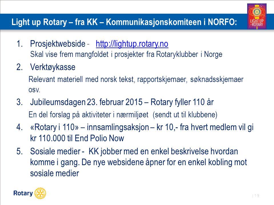 | 19 Light up Rotary – fra KK – Kommunikasjonskomiteen i NORFO: 1.Prosjektwebside - http://lightup.rotary.no Skal vise frem mangfoldet i prosjekter fra Rotaryklubber i Norgehttp://lightup.rotary.no 2.Verktøykasse Relevant materiell med norsk tekst, rapportskjemaer, søknadsskjemaer osv.