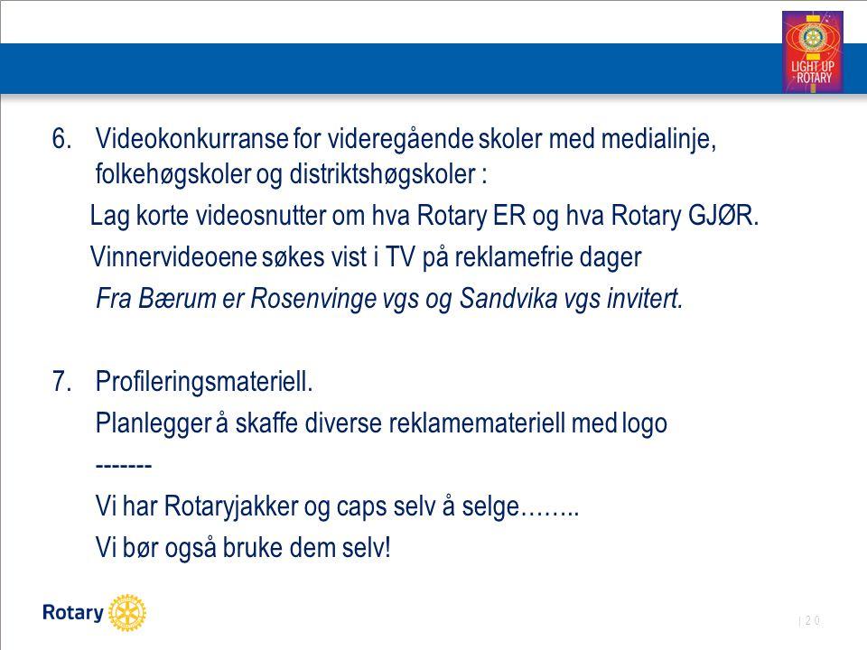 | 20 6.Videokonkurranse for videregående skoler med medialinje, folkehøgskoler og distriktshøgskoler : Lag korte videosnutter om hva Rotary ER og hva Rotary GJØR.