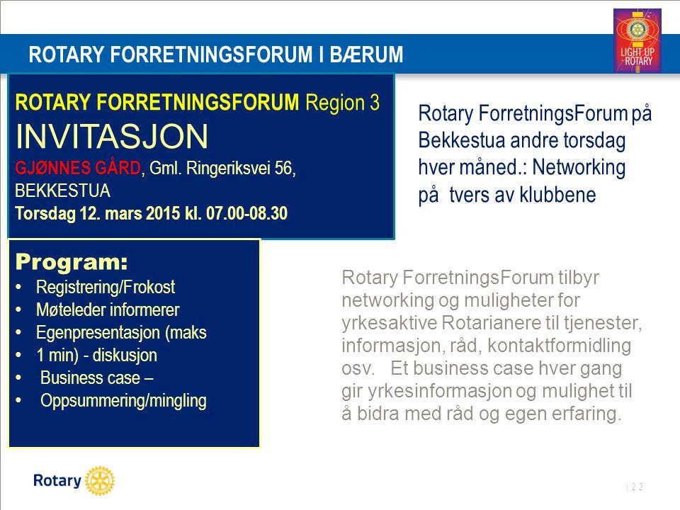 | 22 ROTARY FORRETNINGSFORUM I BÆRUM Rotary ForretningsForum på Bekkestua andre torsdag hver måned.: Networking på tvers av klubbene ROTARY FORRETNING